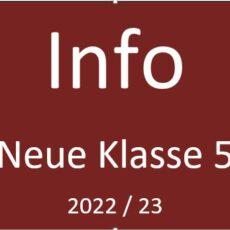 Vorankündigung Info-Veranstaltungen neue Klasse 5 (2022-23)